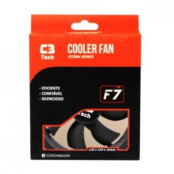 COOLER P/ GABINETE C3TECH 120X120X25MM F7-100BK BLACK