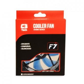 COOLER P/ GABINETE C3TECH 120X120X25MM F7-L100BL BLUE