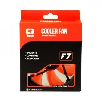 COOLER P/ GABINETE C3TECH 120X120X25MM F7-L100RD RED