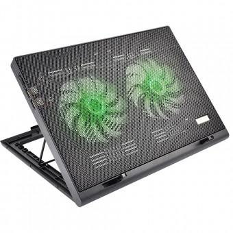 "BASE P/ NOTEBOOK 17"" MULTILASER AC267  2COOLERS 1USB LED VERDE"