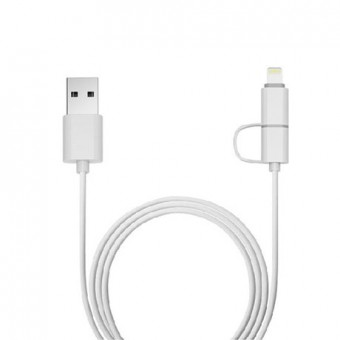 CABO LIGHTNING + MICRO USB 1M BCO MFI APPLE USB-UL3000WH PLUS CABLE