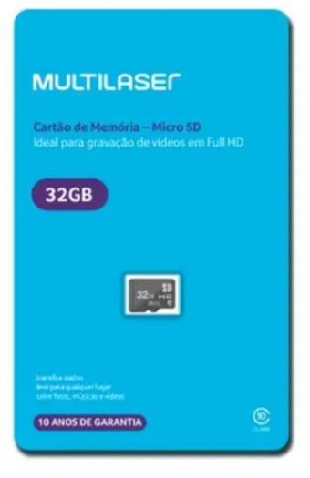 CARTAO DE MEMORIA MICRO SD 32GB MULTILASER MC145 CLASS 10