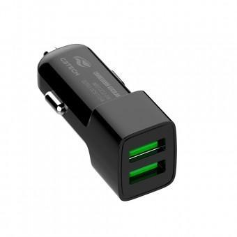 CARREGADOR VEICULAR 2 USB ADAPTADOR 12V C3TECH UCV-20BK PRETO
