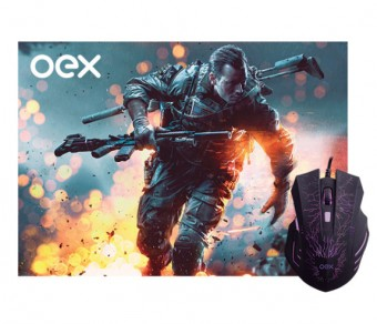 MOUSE USB GAMER COM MOUSE PAD OEX MC-101 PRETO