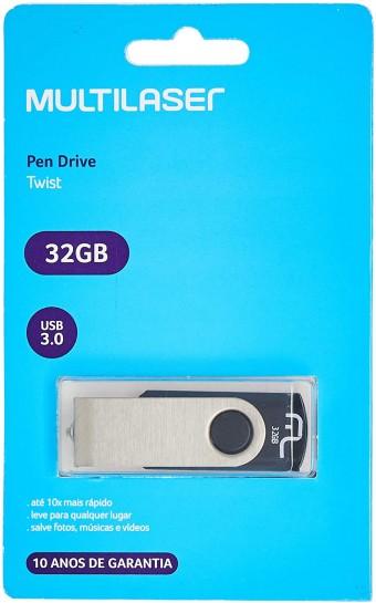 PEN DRIVE 32GB MULTILASER TWIST PD989 USB 3.0 PRETO