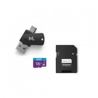 CARTAO DE MEMORIA 16GB 4X1 DUAL OTG + ADAP SD MULTILASER MC150