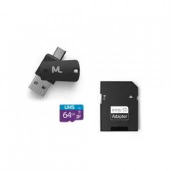 CARTAO DE MEMORIA 64GB 4X1 DUAL OTG + ADAP SD MULTILASER MC152
