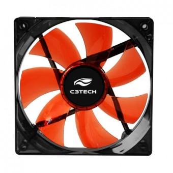 COOLER P/ GABINETE C3TECH 80X80X25MM F7-L50RD LED VERMELHO