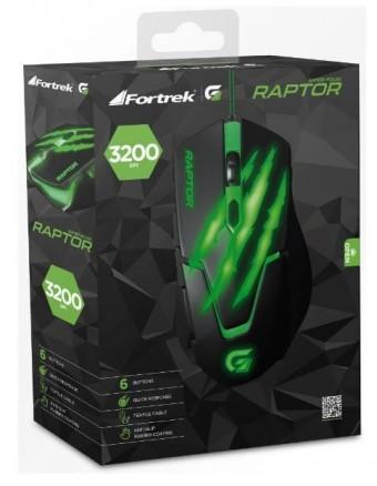 MOUSE USB GAMER FORTREK RAPTOR 3200DPI PTO/VERDE